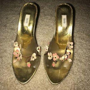 Prada - Golden Floral Heels